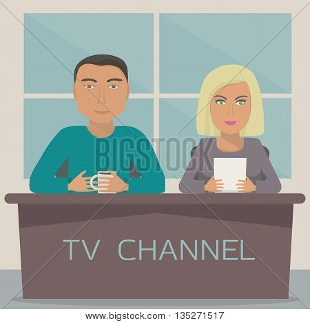 A man and a woman are anchors on the telecast in the studio. TV show with 2 anchor mans on tv channel. Talk show. Vector illustration.
