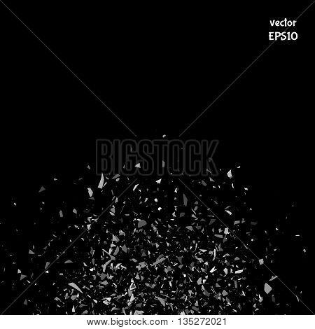 Vector particles. Explosion cloud of black pieces. Confetti. Vector illustration
