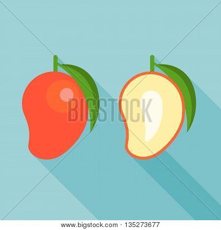 red mango icon, half of mango illustration vector with long shadow, flat design