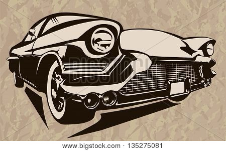 Muscle Car Abstract Vintage Sketch 2