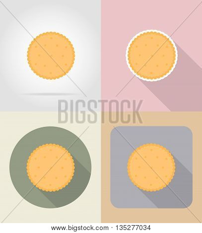 cookie biscuit food and objects flat icons vector illustration isolated on background