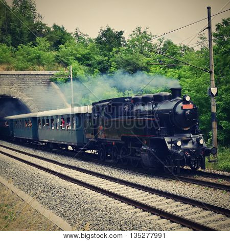 Historic steam train. Specially launched Czech old steam train for trips and for traveling around the Czech Republic.