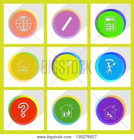 query sign, home work, home reading, library, ink pen, ethnic little man with brush, globe, ruler, calculator. Education set. Internet template. Vector icons.
