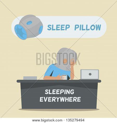 Sleep pillow for sleeping everywhere. Pillow like Ostrich. Tired businessman sleeping on office table. Vector illustration.