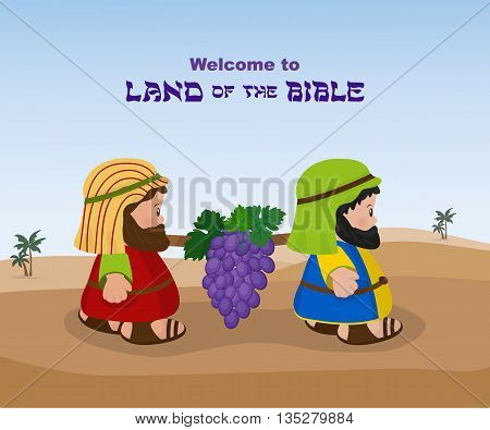 Two spies, ancient Israelites carry a bunch of grapes of Canaan from the Promised Land