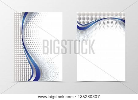 Flyer template design. Abstract flyer template vector illustration in blue color. Silver spot background with blue wave flyer design