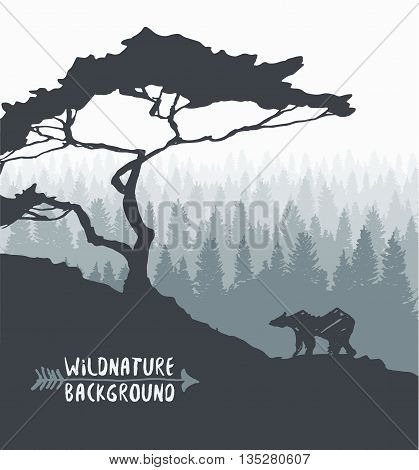Forest background design template with pine tree and bear silhouette hand drawn vector illustration