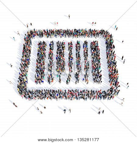 Large and creative group of people gathered together in the shape of a barcode, buy, image. 3D illustration, isolated, white background.