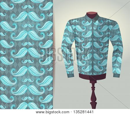 Vector fashion illustration men's shirt on a dummy. Seamless vector background pattern isolated elements for invitation card design. Seamless fabric texture