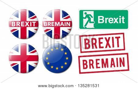 Bremain or Brexit in exit sign, badges and red ink stamps