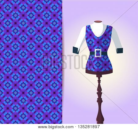 Vector fashion illustration womens vest on a dummy hand drawn seamless geometric pattern isolated elements for invitation card design. Seamless fabric texture
