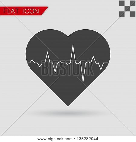 electrocardiogram icon vector Flat Style with red mark