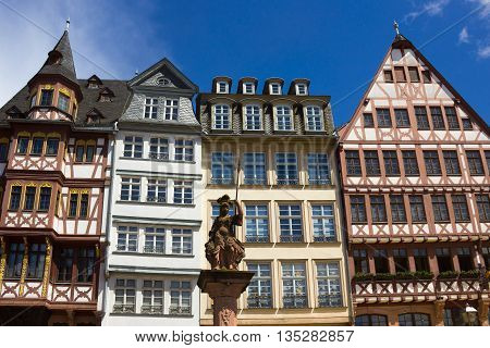 The old town with the Justitia statue in Frankfurt Germany