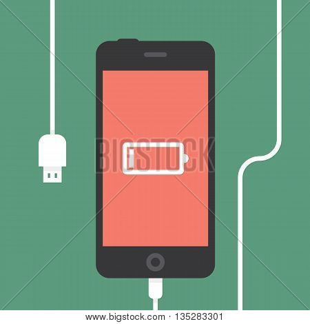 Low battery. Phone charging, flat icon isolated on a green. Vector flat illustration.
