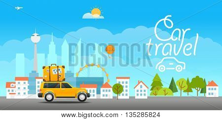 Vacation travelling concept. Vector travel illustration with the car. Car travel 
