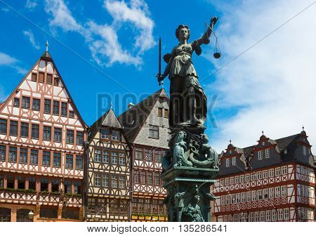 The old town with the Justitia statue in Frankfurt, Germany