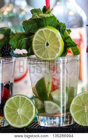 Detox water with fruit for cleanse body and burn fat poster