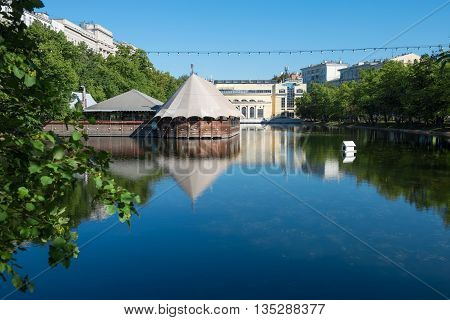 Clean pond on Chistoprudny Boulevard in Moscow
