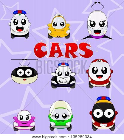 Kawaii cute icons of urban transport . Car, bus, train, mrt, police car, fire engine, cable car, ambulance, taxi, truck. For different infographic, illustration design. Vector