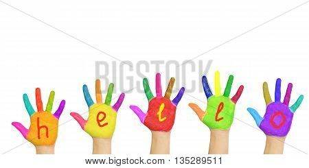 Word hello painted on hands. Isolated on white background