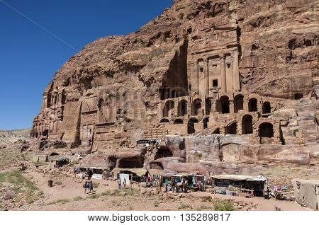 View Of Royal Tombs And The Urn Tomb On Foreground. Petra, Jordan