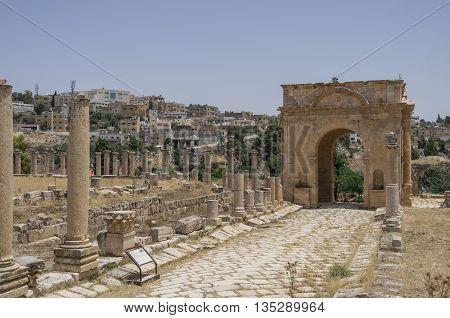 Northern Tetrapylon , Ancient Roman City Of Gerasa Of Antiquity , Modern Jerash, Jordan