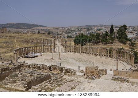 Forum (oval Plaza) In The Ancient Roman City Of Gerasa, Jerash, Jordan.