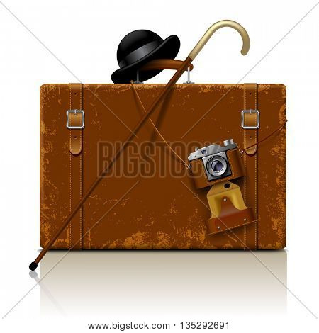 Vintage brown threadbare suitcase with walking stick, bowler hat and retro photo camera isolated on white. 3D illustration