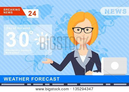 Anchorman on tv broadcast news. Anchorman on a globe background. Anchorman flat vector illustration. Anchorman with the weather report.