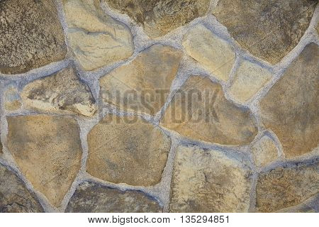 Rubble Rock Limestone Granite Mortar Wall Closeup