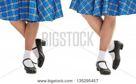 Woman legs in shoes for Scottish dance isolated