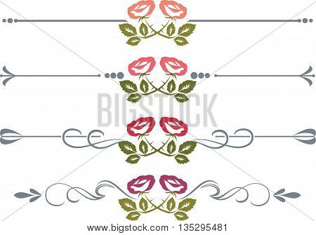Set of design elements with roses vectorized