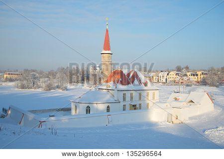 GATCHINA, RUSSIA - JANUARY 22, 2016: Priory Palace in Gatchina, frosty january day. Historical landmark of the Leningrad region, Russia