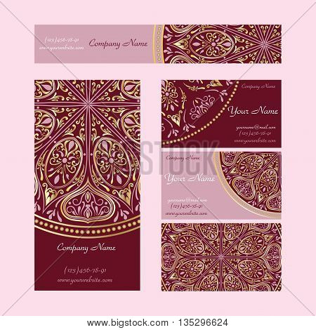 Set booklets templates. Business cards, invitations and banners. Floral mandala pattern and ornaments in pink and vinous colors, in style of Asian, Arabic, Indian motifs.