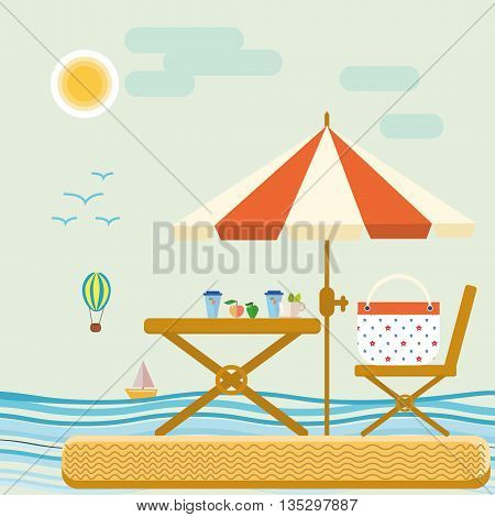 Summer time in beach sea shore with realistic objects tropical leisure. Vector Illustration summer time travel vacation. Summer time tropical leisure water outdoor sunlight tourism.