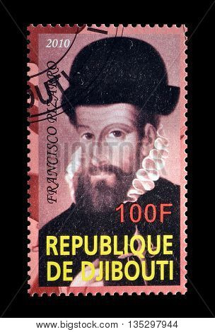 DJIBOUTI - CIRCA 2010 : Cancelled postage stamp printed by Djibouti, that shows Francisco Pizarro.