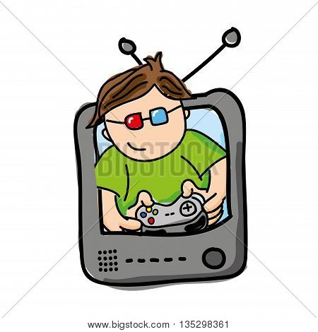 poster of gamer playin video game isolated icon design, vector illustration  graphic
