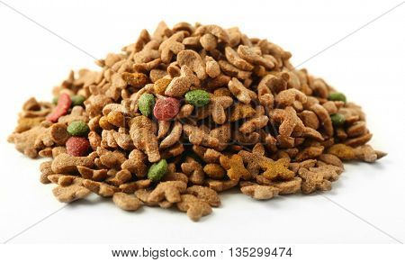 Pile of dog food isolated on white