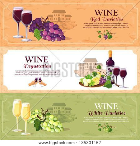 Wine horizontal banners set with red and white varieties and advertising of degustation hall flat vector illustration