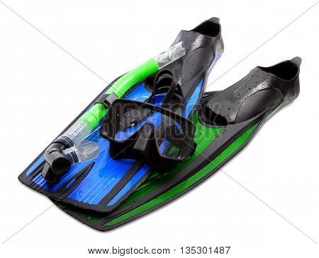 Mask, Snorkel And Flippers Of Different Colors