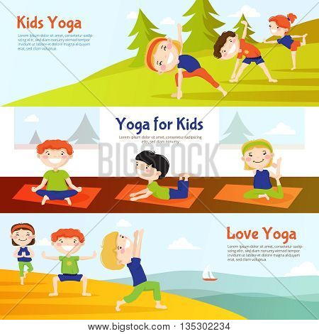 Yoga for kids 3 horizontal banners set with children practicing asana poses outdoor abstract isolated vector illustation