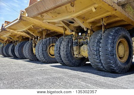 Heavy equipment industrial dump trucks for mining and highway construction