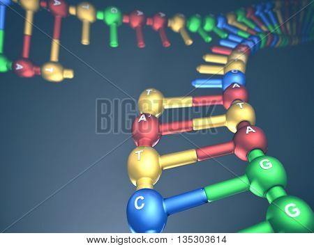 3D illustration, concept of DNA replication (Replication Fork).