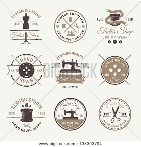 Color tailor emblem or logo set with descriptions of custom clothing wear hand sewn and premium quality vector illustration