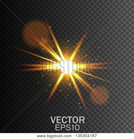 Glow light effect, Star burst with sparkles, Golden light effect,  Transparent Light Effects