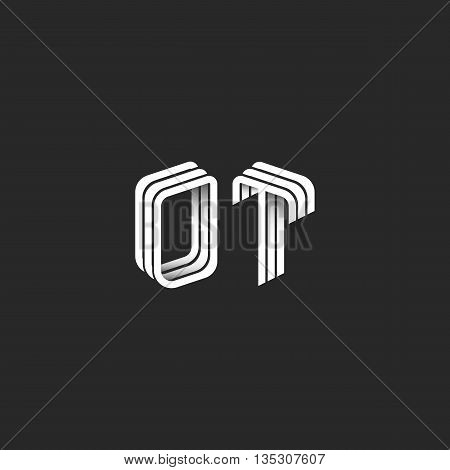 Monogram Initials Ot Logo Isometric Geometric Shape, Combination O T Letters Couple, Mockup Business