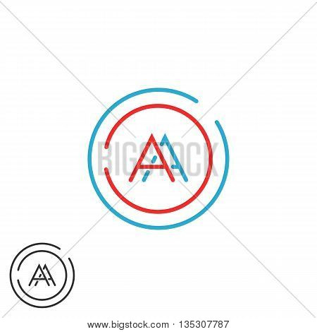 Fusion Two Letters Aa Logo Monogram, Modern Hipster Blue And Red Circle Frame Thin Line A Initials