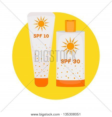 Sunblock cream bottles isolated on yellow background. Summer sunscreen cosmetic container icon. UV SPF skincare tube packaging. UV skin protection concept. Vector illustration.