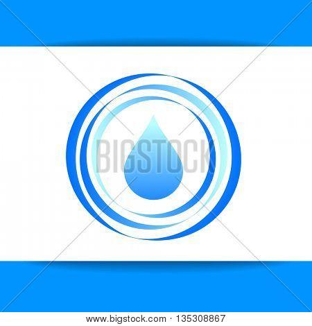 Aqua water drop. Concept logo design for mineral water, eco drink, bio liquid, aqua product and etc. Vector graphic illustration.