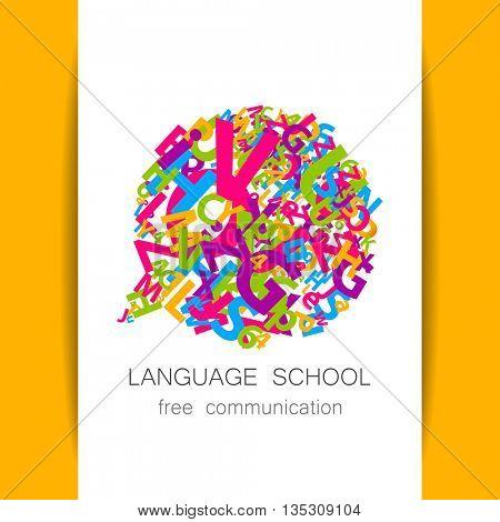 Language school logo template. Concept logotype design for , translation, linguistic center, language teachers, international communication club. Vector.